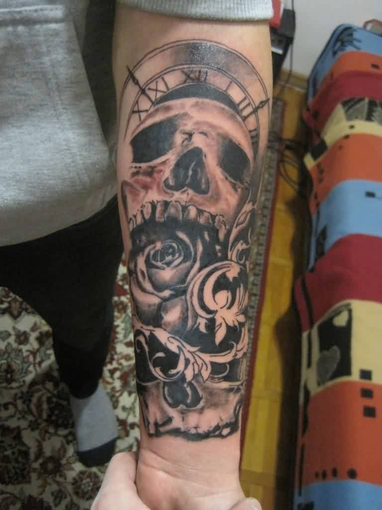 Clock And Flowers Forearm Tattoos