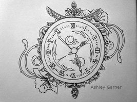 Clock And Flowers Tattoos Sketch