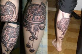 Clock And Gear Tattoos On Leg