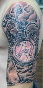 Clock And Gears Half Sleeve Tattoos