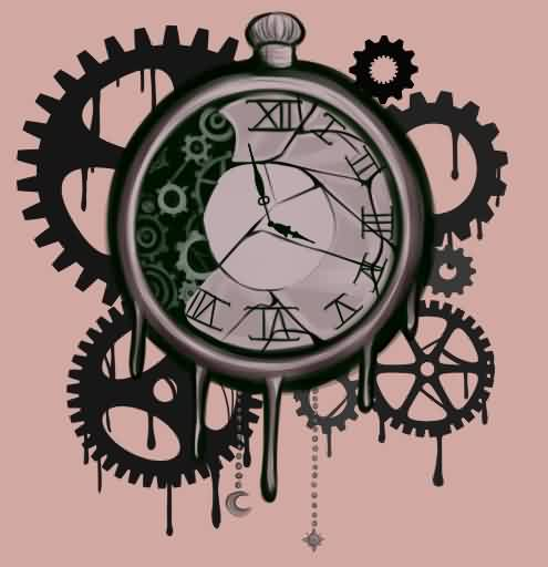 Clock And Gears Tattoo Print