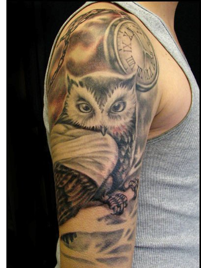 Clock And Owl Tattoos On Half Sleeve