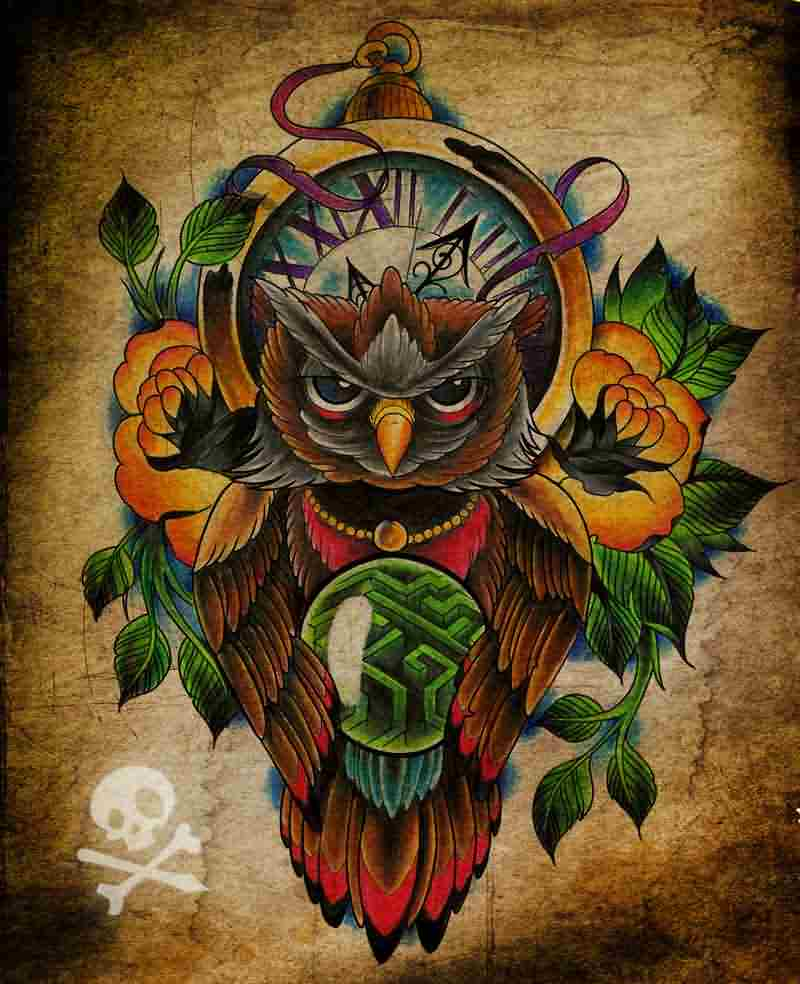 Clock And Owl Tattoos Poster