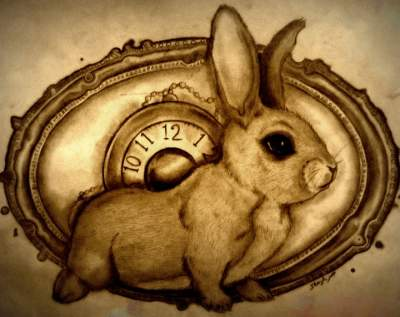 Clock And Rabbit Tattoos Print
