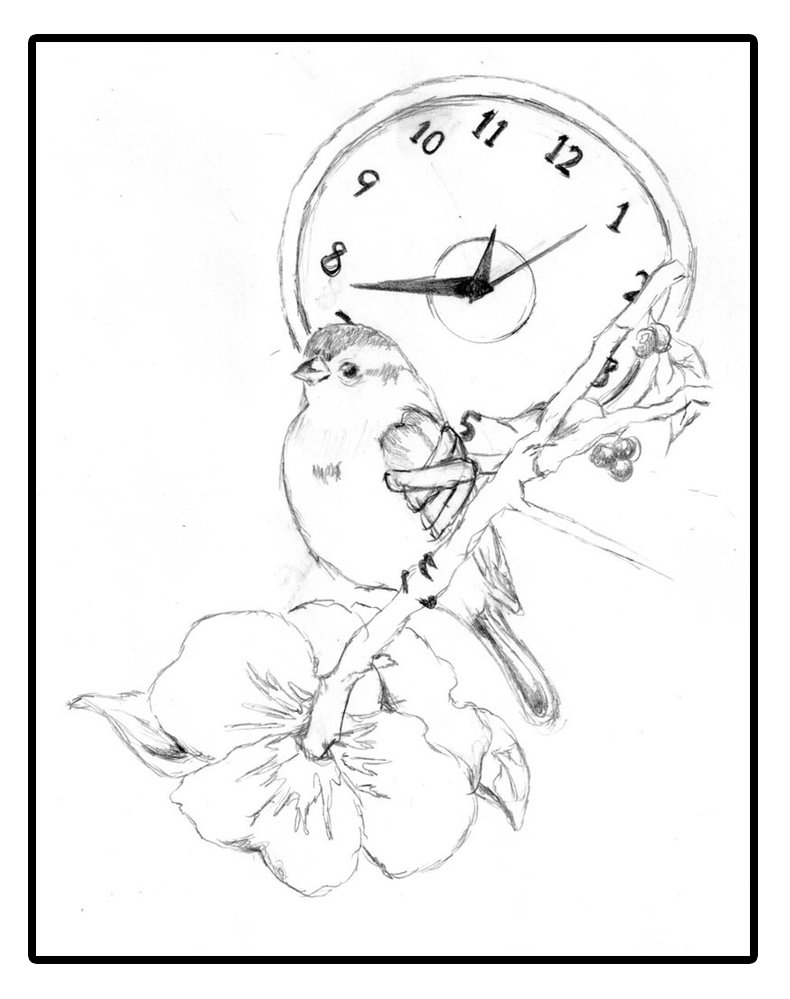 Clock And Rose Branch Tattoos Sketch