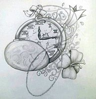 Clock And Rose Tattoos Drawing