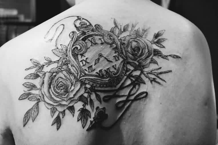 Clock And Roses Black And White Tattoos On Upperback