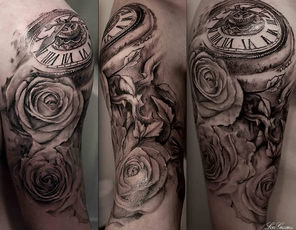 Clock And Roses Portrait Half Sleeve Tattoos
