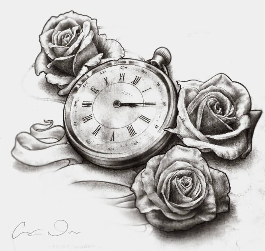 Clock And Roses Tattoo Designs