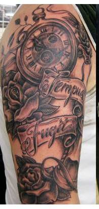 Clock And Roses Tattoos On Half Sleeve