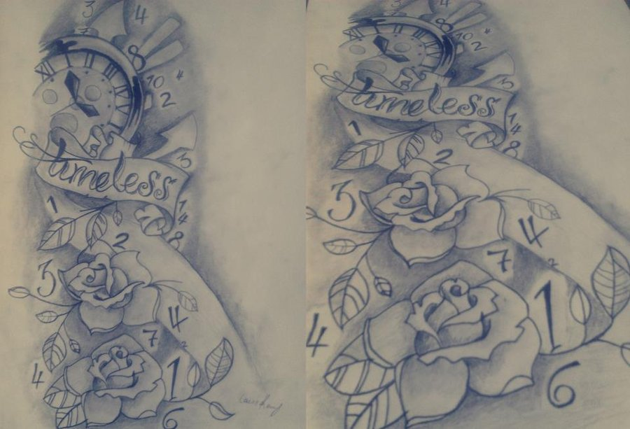 Clock And Roses Tattoos Sketch