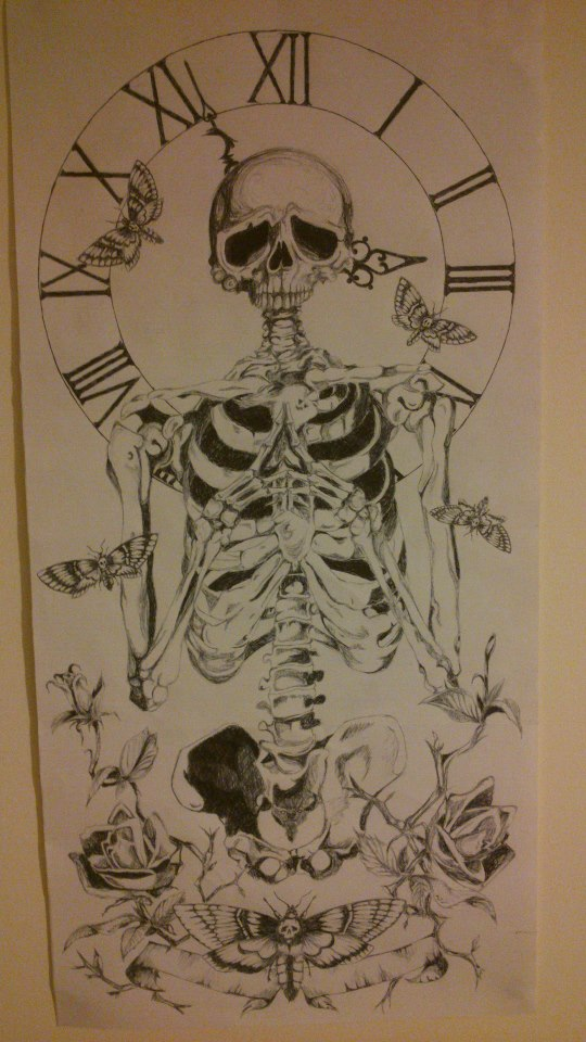 Clock And Skeleton Tattoos Drawing