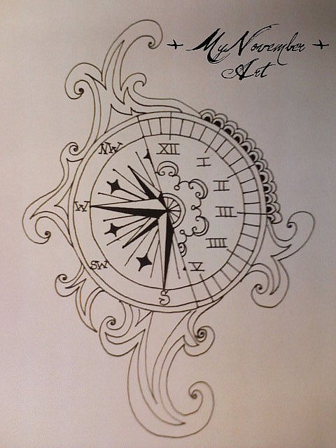 Clock Compass Tattoo Print