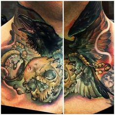 Clock Crow And Skull Tattoos On Neck