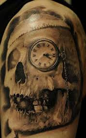 Clock Eye Skull Tattoo On Shoulder