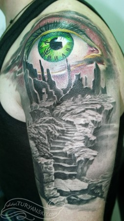 Clock Eye Tattoo On Shoulder