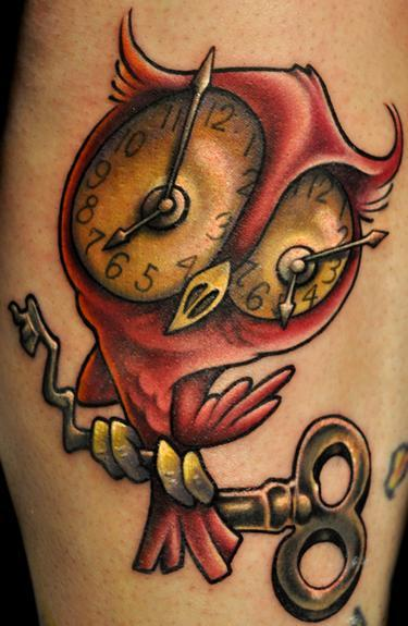 Clock Eyed Owl Tattoo