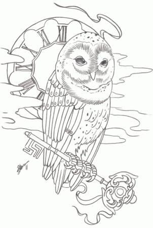 Clock Flames And Owl Key Tattoos Sample