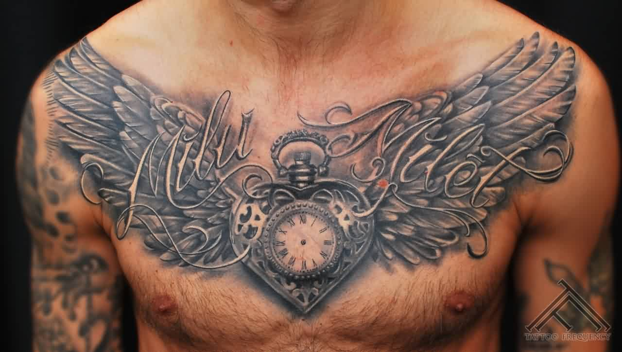 Clock Heart With Wings Tattoo On chest