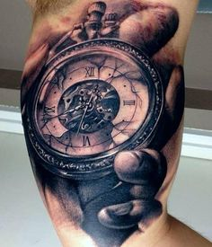 Clock In Hand Portrait Tattoo On Muscles