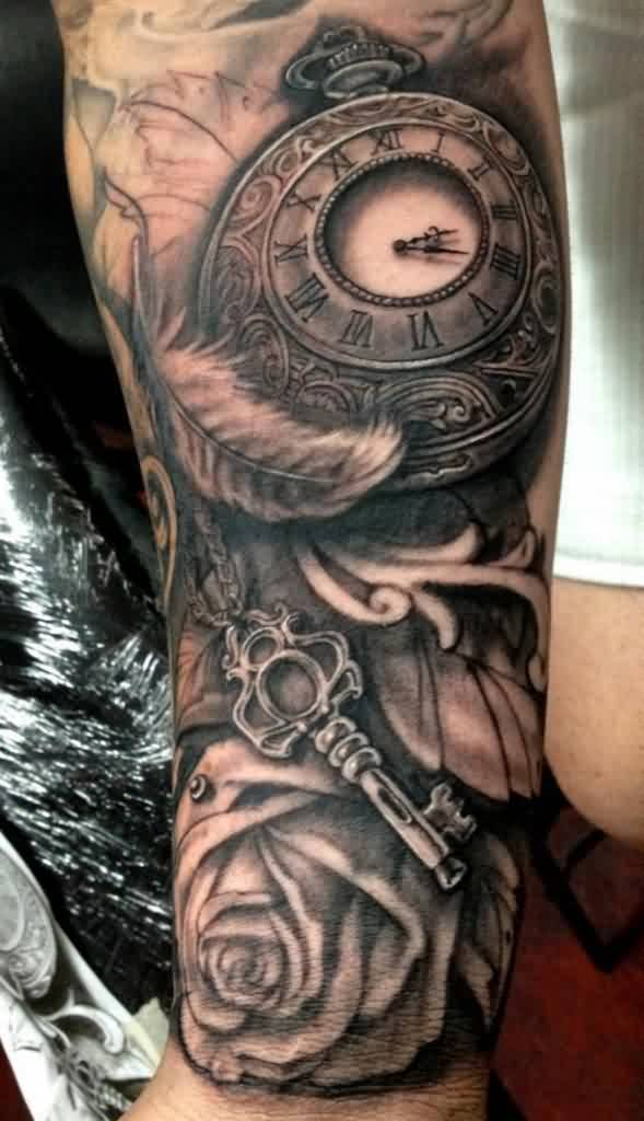 Clock Key And Rose Tattoos On Sleeve