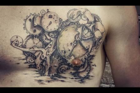 Clock Mechanism Tattoo On Chest