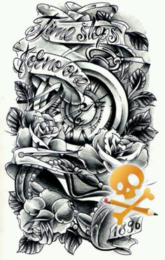Clock Pocket Watch And Roses Tattoo Designs