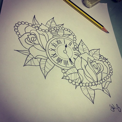 Clock Pocket Watch And Roses Tattoos Sketch