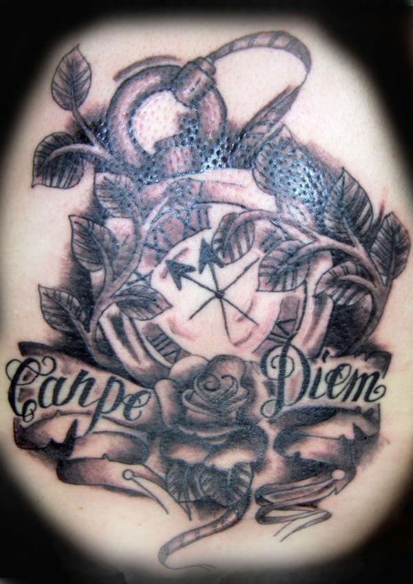 Clock Rose Carpe Diem Tattoo