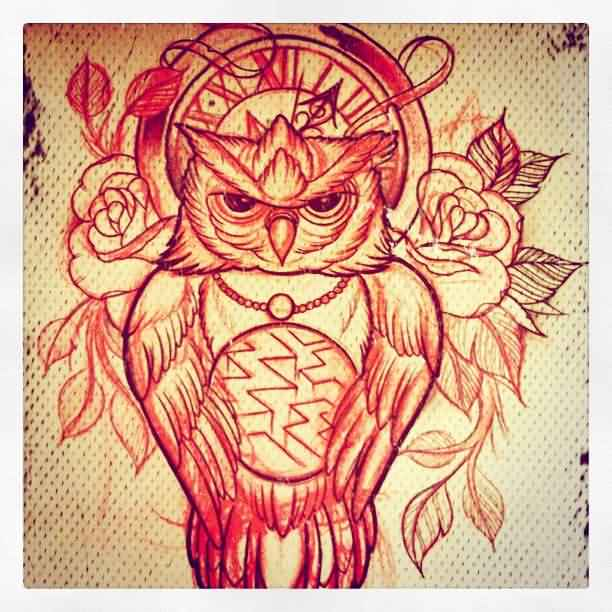 Clock Roses And Owl Tattoos Print