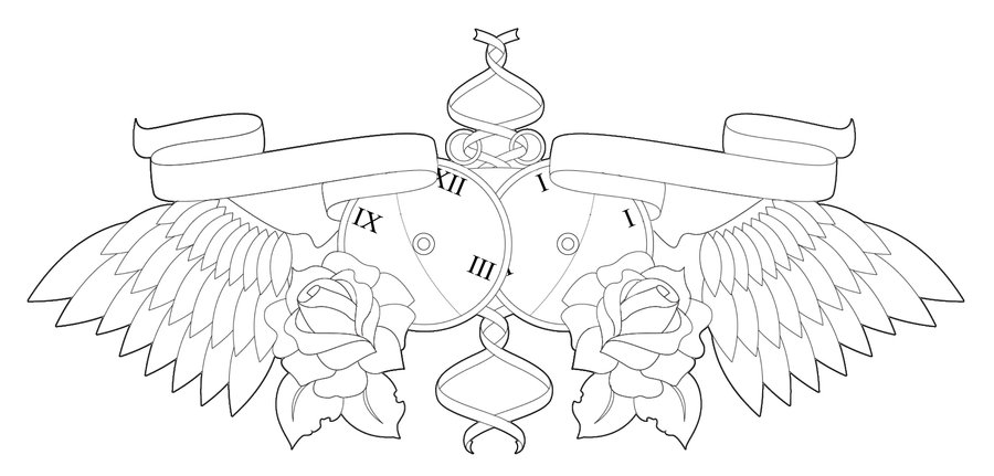 Clock Roses With Wings Chestpiece Tattoo Sample