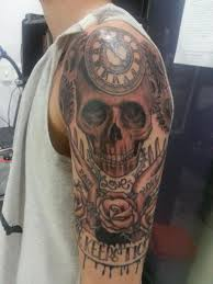 Clock Skull And Rose Tattoos On Half Sleeve