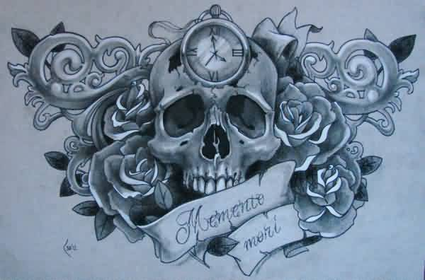 Clock Skull And Roses Tattoo Designs