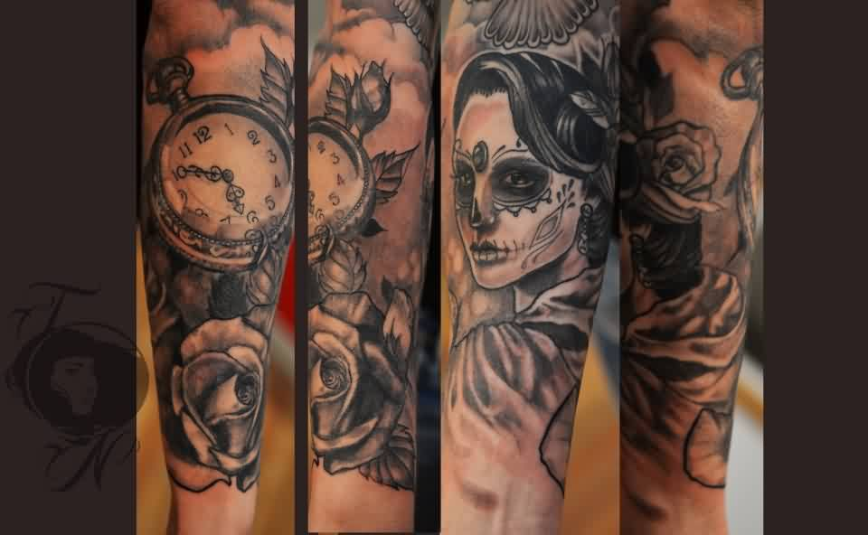 Clock Skull And Skull Woman Tattoos