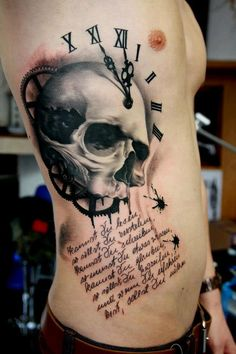 Clock Skull Gears And Lettering Tattoos On Ribs