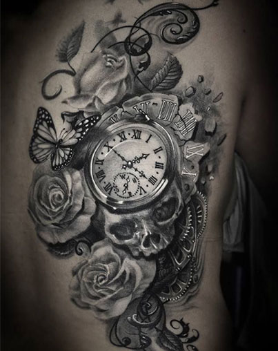Clock Skull Gears And Rose Tattoos On Rib