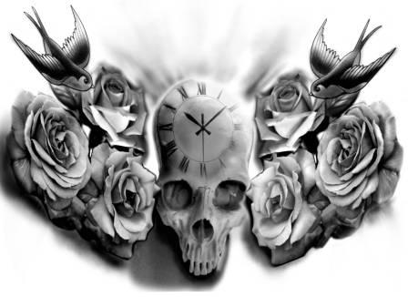 Clock Skull Roses And Bird Tattoo Designs