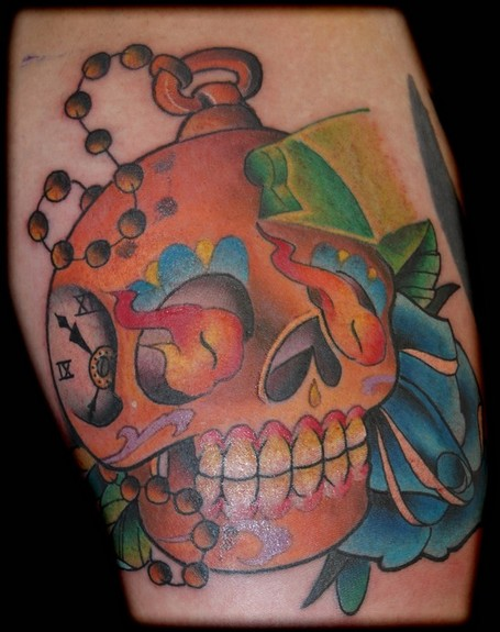 Clock Sugar Skull Colorful Tattoo