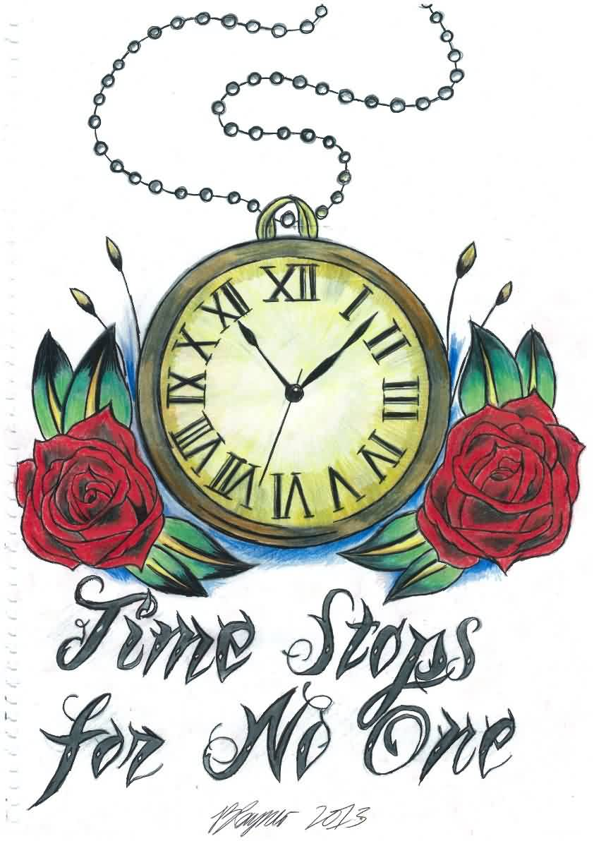 Clock Tattoo Design With Roses