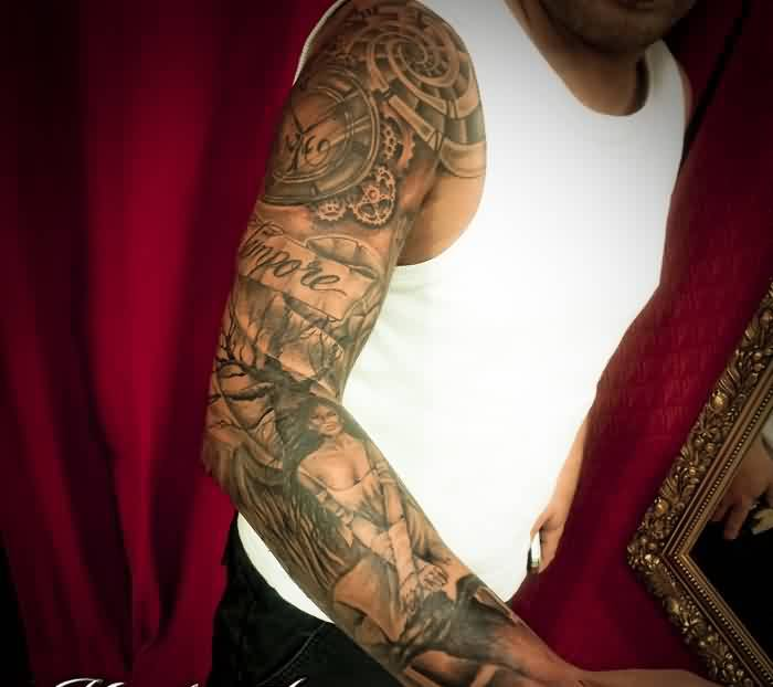 Clock Time Script Tattoos On Right Sleeve