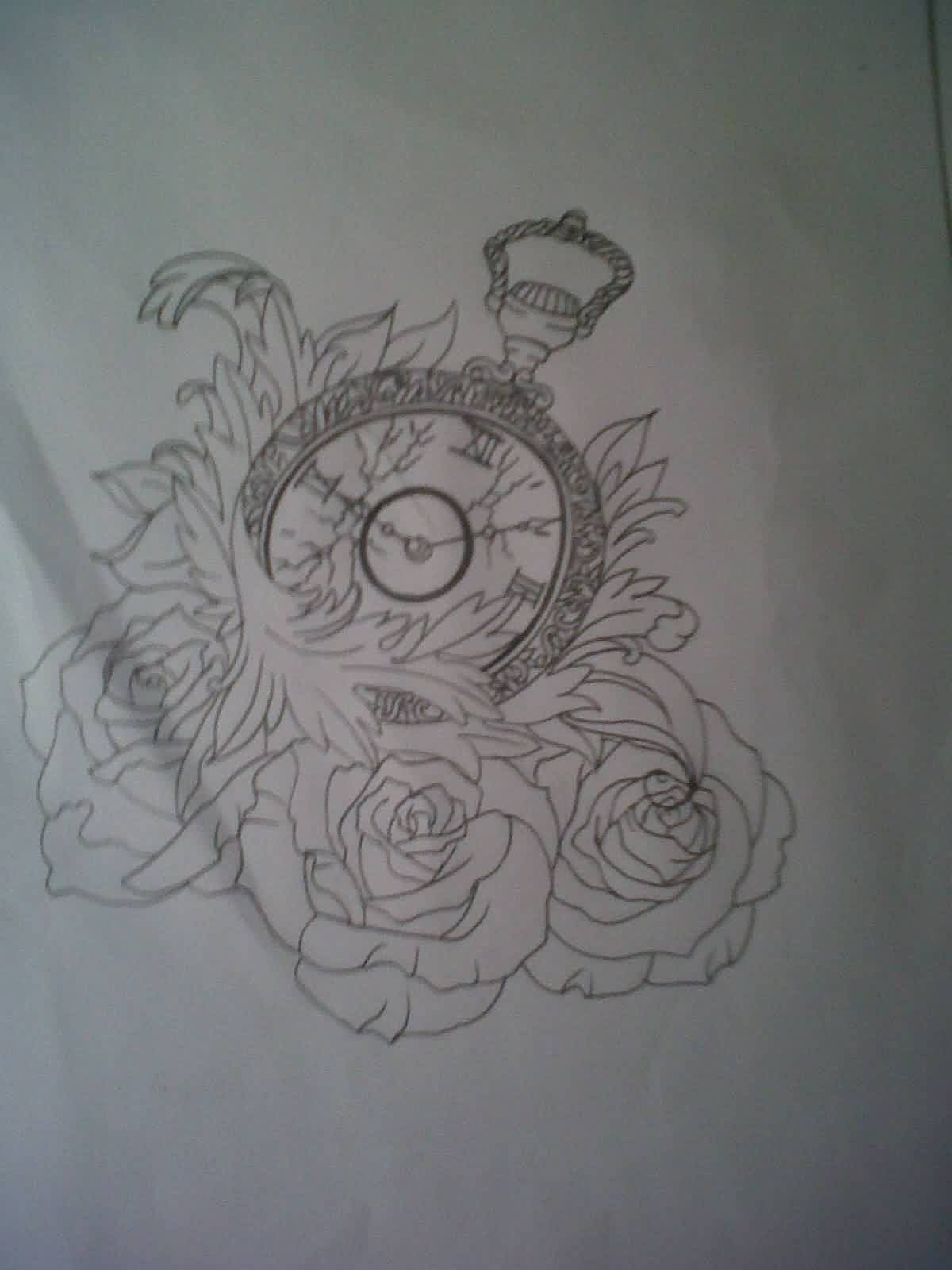 Clock Waves And Rose Tattoos Sketch