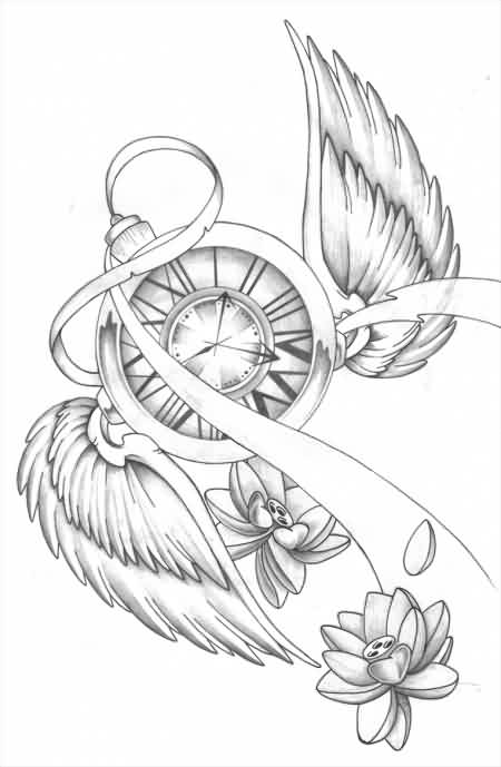 Clock With Wings And Lotus Tattoos Drawing