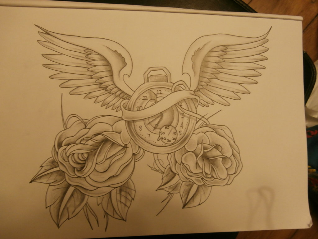 Clock With Wings And Roses Tattoo Drawing