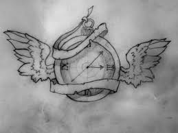 Clock With Wings Tattoo Drawing