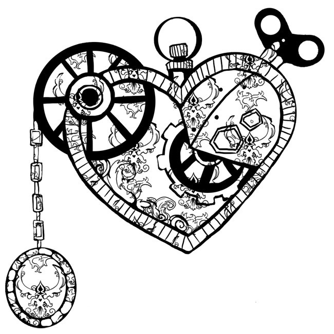 Clock Work Heart Tattoo Model