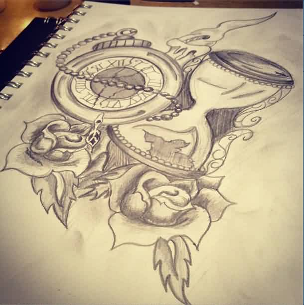 Clocks And Rose Tattoos Drawing