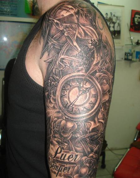Clocks And Roses Tattoos For Half Sleeve