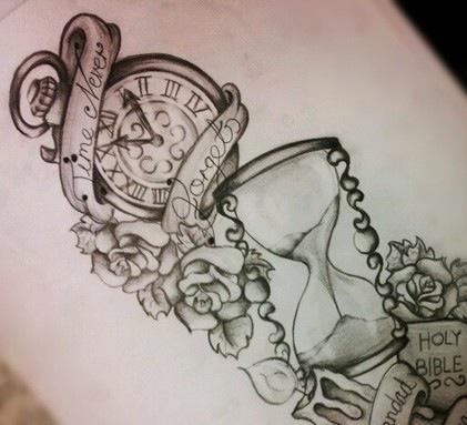 Clocks And Roses Tattoos Sketch