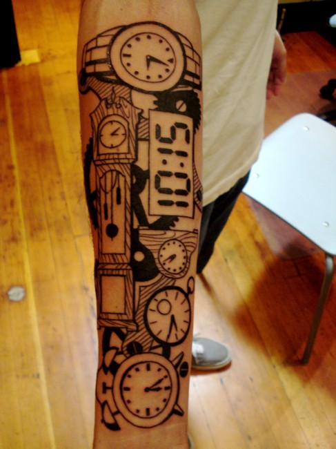 Clocks Tattoos On Forearm