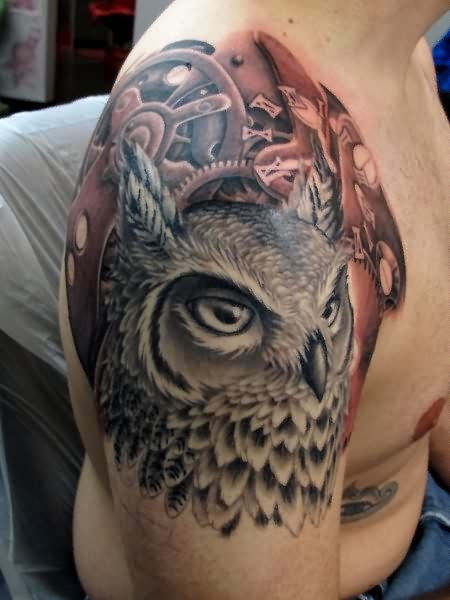 Clockwork Owl Tattoo On Right Shoulder